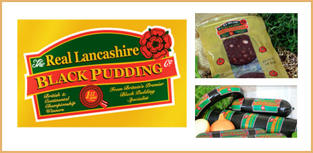 Packaging design from Stripey Media for the Lancashire Black Pudding Company