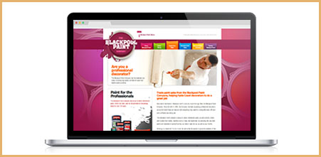 High end website design in Lancashire from Stripey Media for the Blackpool Paint Company