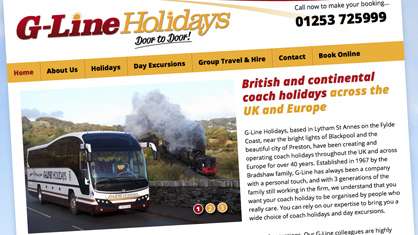 Logo design and Lancashire website design - G-Line Holidays