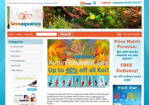 Ecommerce website design - Love Aquatics