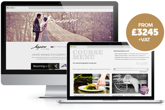 Website design package Advanced from Stripey Media - example, Aspire Photography Training