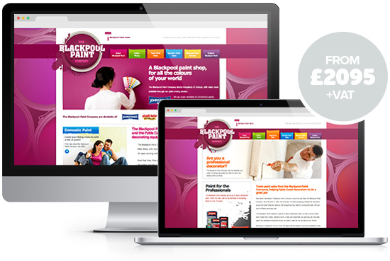 Web design package Classic from Stripey Media - example, Blackpool Paint Company