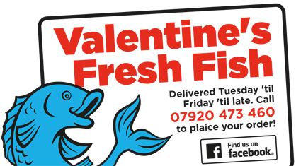 Professional logo design and marketing design - Valentine's Fresh Fish