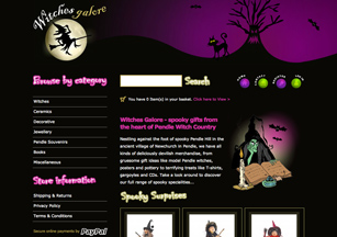 Ecommerce website design from Stripey Media for Witches Galore