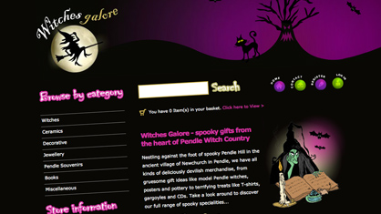 Bespoke website design and logo design - Witches Galore