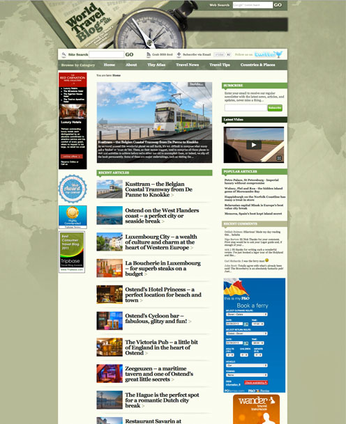 Bespoke Wordpress blog design by Stripey Media for World Travel Blog